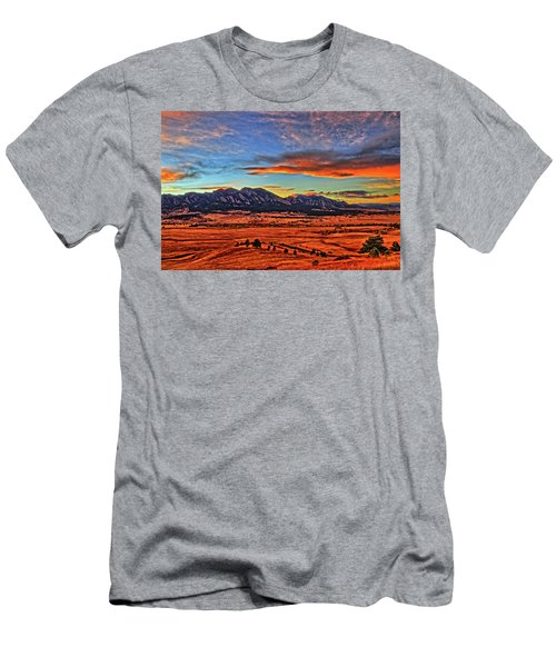 Men's T-Shirt (Slim Fit) featuring the photograph Flatiron Sunset Fire Red by Scott Mahon