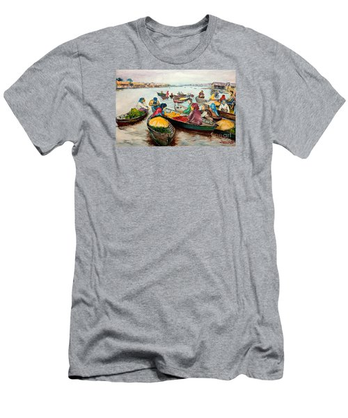 Men's T-Shirt (Slim Fit) featuring the painting Floating Market by Jason Sentuf