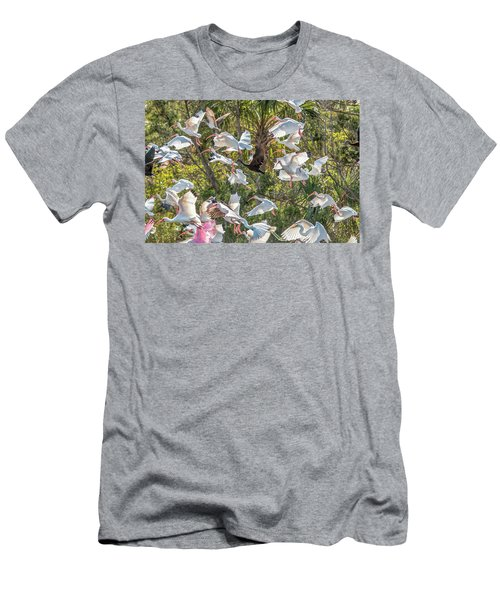 Flock Of Mixed Birds Taking Off Men's T-Shirt (Athletic Fit)