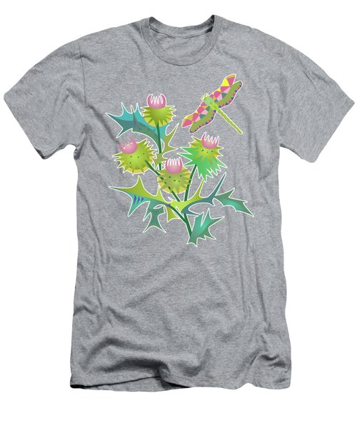 Men's T-Shirt (Athletic Fit) featuring the digital art  Floral Pattern With Thistle by Ariadna De Raadt