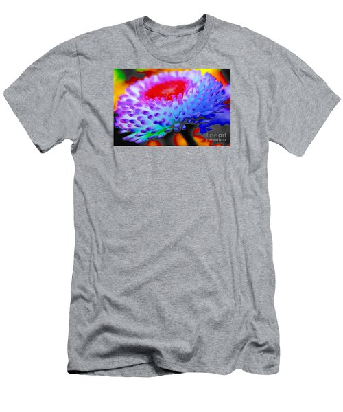 Floral Rainbow Splattered In Thick Paint Men's T-Shirt (Athletic Fit)