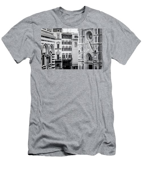 Men's T-Shirt (Slim Fit) featuring the photograph Florence Italy View Bw by Joan Carroll