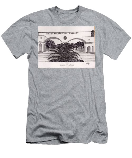 Men's T-Shirt (Slim Fit) featuring the drawing Florida International University by Frederic Kohli