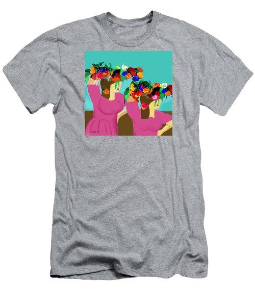 Flower Girls In The Market Men's T-Shirt (Slim Fit) by Haleh Mahbod
