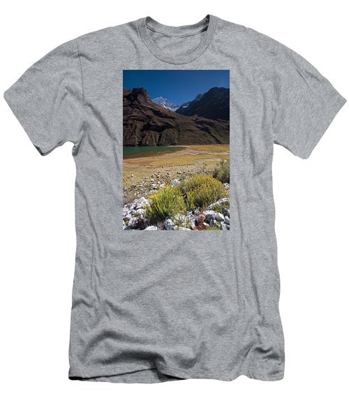 Flowers And Mountain Lake In Santa Cruz Valley Men's T-Shirt (Athletic Fit)