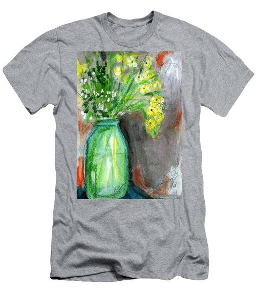 Flowers In A Green Jar- Art By Linda Woods Men's T-Shirt (Athletic Fit)