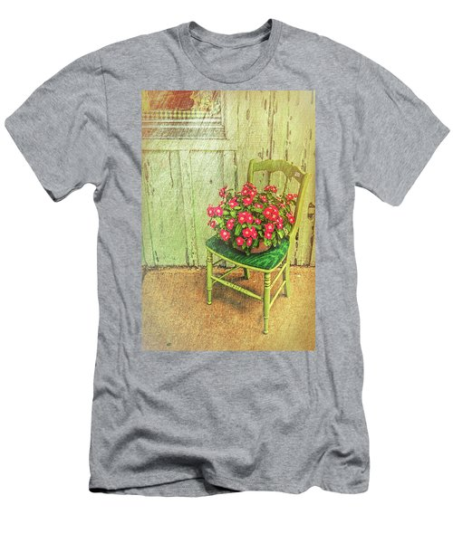 Men's T-Shirt (Athletic Fit) featuring the photograph Flowers On Green Chair by Lewis Mann