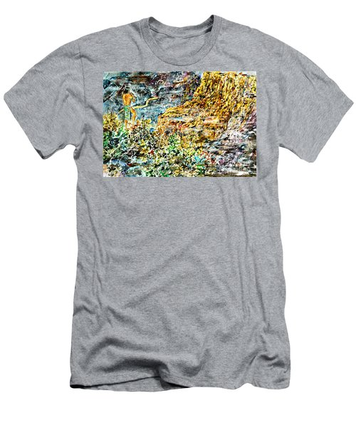 Men's T-Shirt (Slim Fit) featuring the painting Flutes Breath by Alfred Motzer