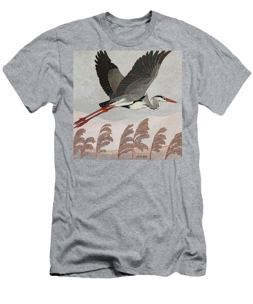Flying Heron Men's T-Shirt (Athletic Fit)