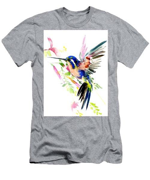 Flying Hummingbird Blue Peach Colors Men's T-Shirt (Athletic Fit)