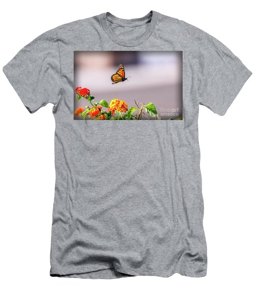 Flying Monarch Butterfly Men's T-Shirt (Slim Fit) by Robert Bales