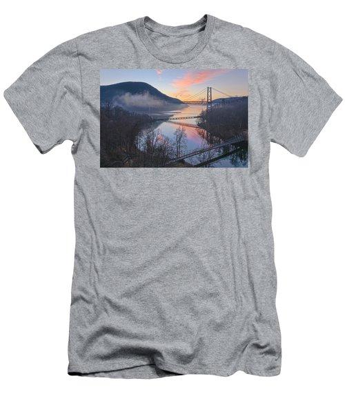 Foggy Dawn At Three Bridges Men's T-Shirt (Athletic Fit)
