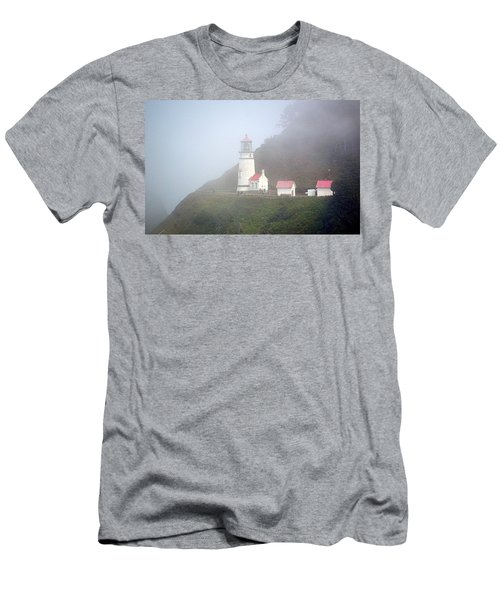 Men's T-Shirt (Athletic Fit) featuring the photograph Foggy Day At The Heceta Head Lighthouse by AJ Schibig