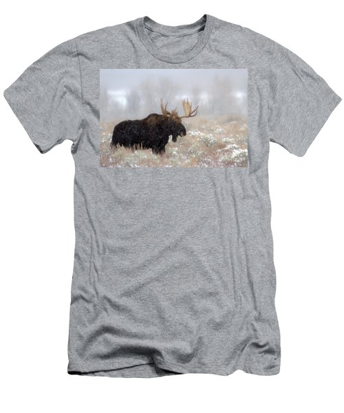 Men's T-Shirt (Slim Fit) featuring the photograph Foggy Moose Silhouette by Adam Jewell