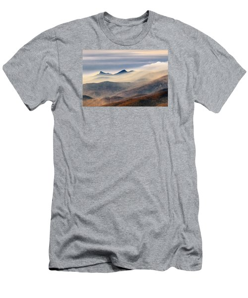 Men's T-Shirt (Athletic Fit) featuring the photograph Foggy Morning At Hawksbill And Table Rock by Ken Barrett