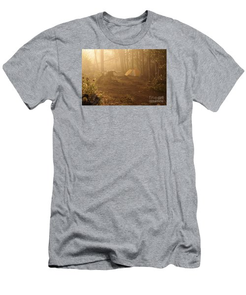 Men's T-Shirt (Slim Fit) featuring the photograph Foggy Morning At The Campsite by Larry Ricker