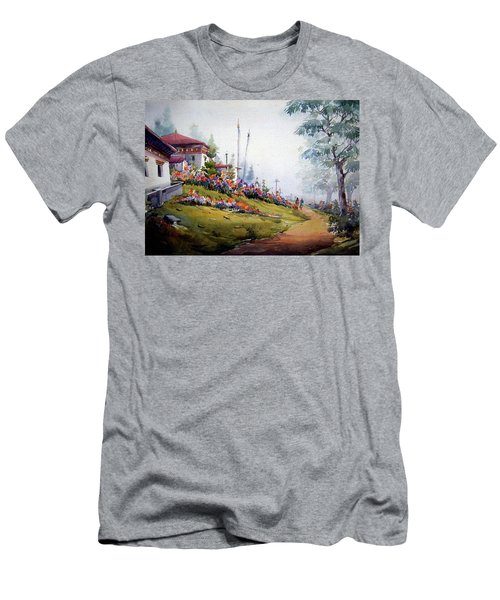 Men's T-Shirt (Slim Fit) featuring the painting Foggy Mountain Village by Samiran Sarkar