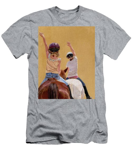 Follow The Leader - Horseback Riding Lesson Painting Men's T-Shirt (Athletic Fit)