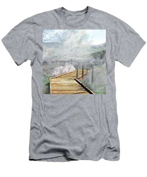Footbridge In The Clouds Men's T-Shirt (Slim Fit) by Deborah Nakano