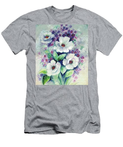 Forget-me-knots And Roses Men's T-Shirt (Slim Fit) by Hazel Holland