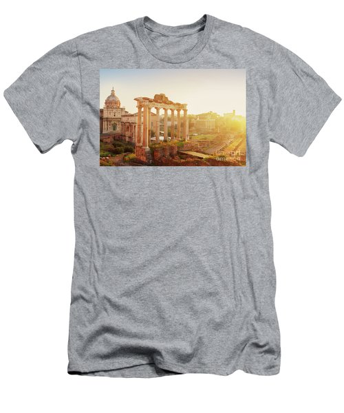 Forum - Roman Ruins In Rome At Sunrise Men's T-Shirt (Athletic Fit)