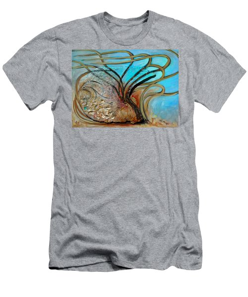 Men's T-Shirt (Slim Fit) featuring the painting Fossil In The Deep by Suzanne McKee