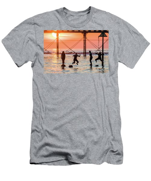Four Girls Jumping Into The Sea At Sunset Men's T-Shirt (Athletic Fit)