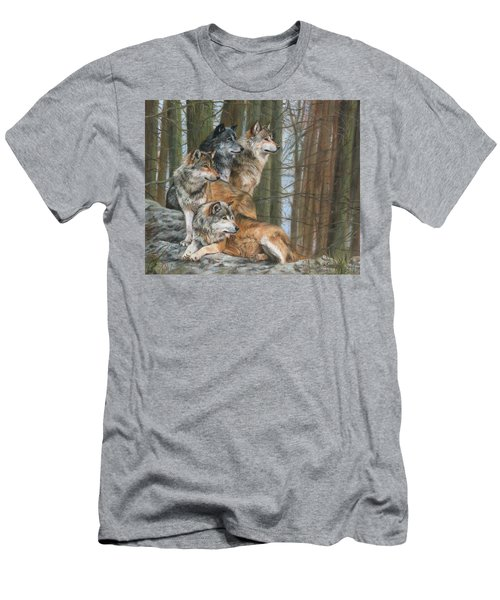 Men's T-Shirt (Slim Fit) featuring the painting Four Wolves by David Stribbling