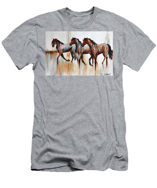 Men's T-Shirt (Slim Fit) featuring the painting Free Spirits by Cher Devereaux