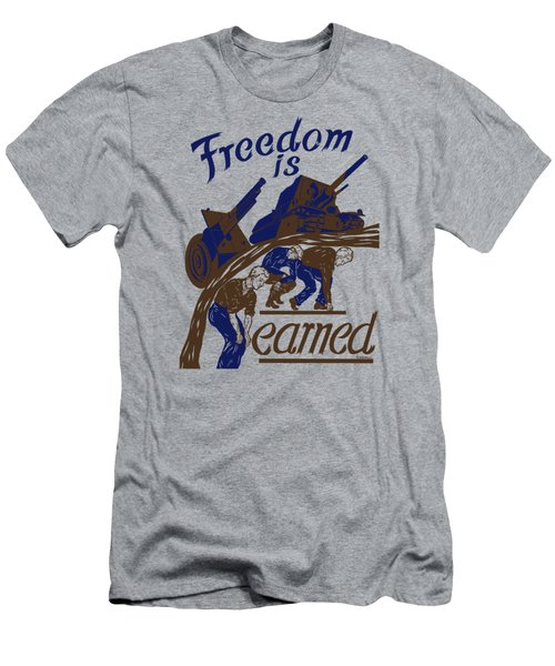 Men's T-Shirt (Slim Fit) featuring the mixed media Freedom Is Earned - Ww2 by War Is Hell Store