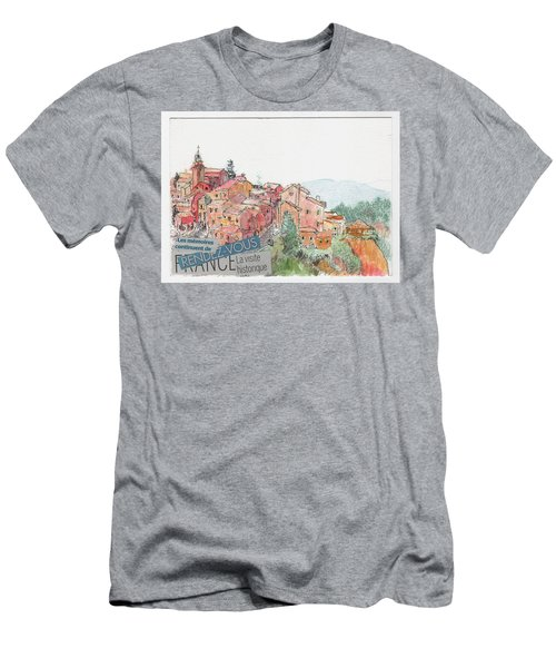 Men's T-Shirt (Slim Fit) featuring the painting French Hill Top Village by Tilly Strauss