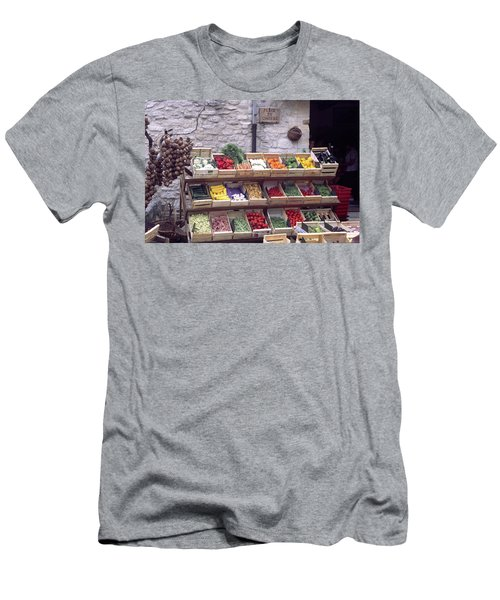 Men's T-Shirt (Athletic Fit) featuring the photograph French Vegetable Stand by Frank DiMarco