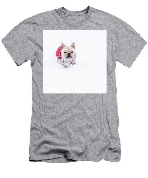 Frenchie In The Snow Men's T-Shirt (Athletic Fit)