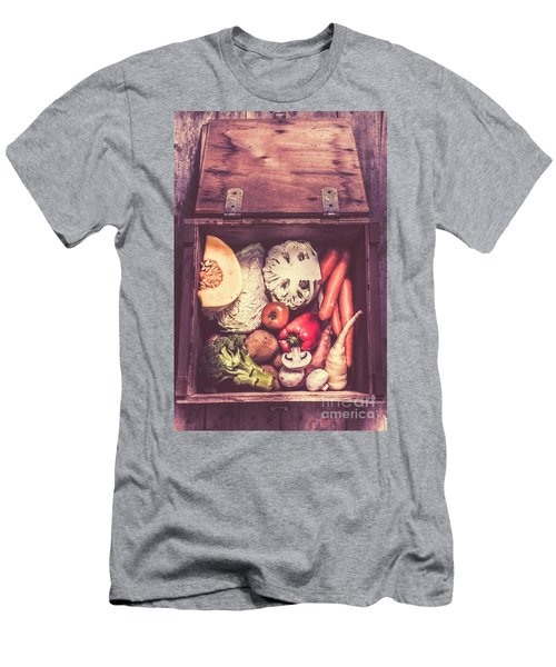 Fresh Vegetables In Wooden Box Men's T-Shirt (Slim Fit) by Jorgo Photography - Wall Art Gallery