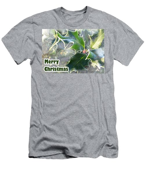 Men's T-Shirt (Slim Fit) featuring the photograph Frosty Holly by LemonArt Photography