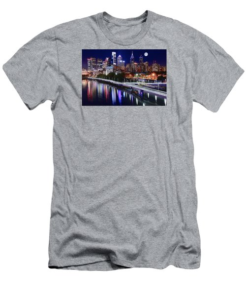 Full Moon Over Philly Men's T-Shirt (Slim Fit) by Frozen in Time Fine Art Photography