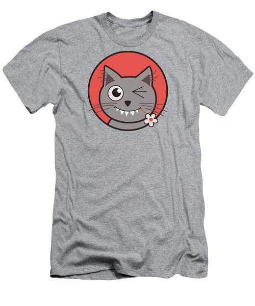 Funny Winking Cartoon Kitty Cat Men's T-Shirt (Athletic Fit)