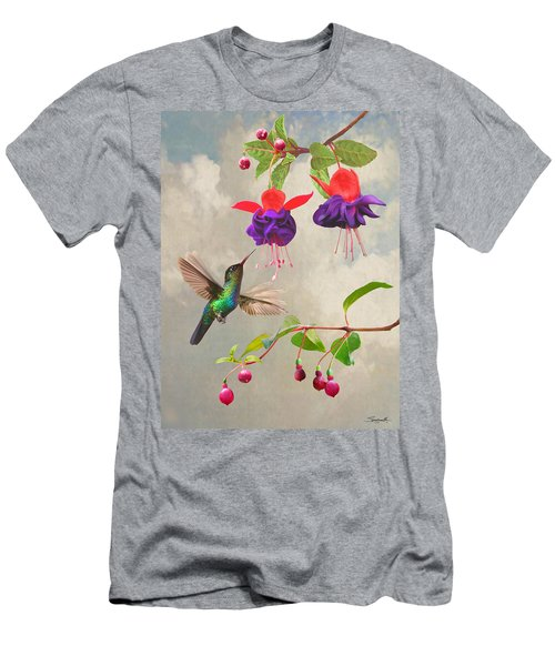Fuchsia And Hummingbird Men's T-Shirt (Athletic Fit)
