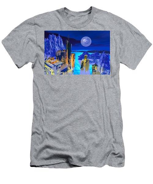 Men's T-Shirt (Athletic Fit) featuring the digital art Futuristic City by Deleas Kilgore