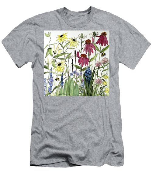 Garden Flowers With Bees Men's T-Shirt (Athletic Fit)