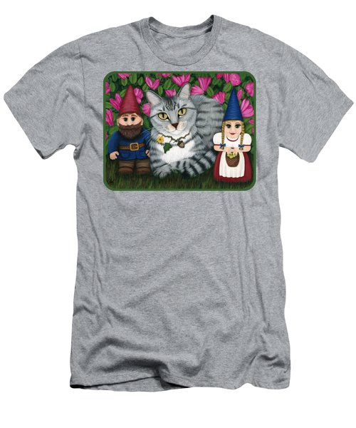 Garden Friends - Tabby Cat And Gnomes Men's T-Shirt (Athletic Fit)