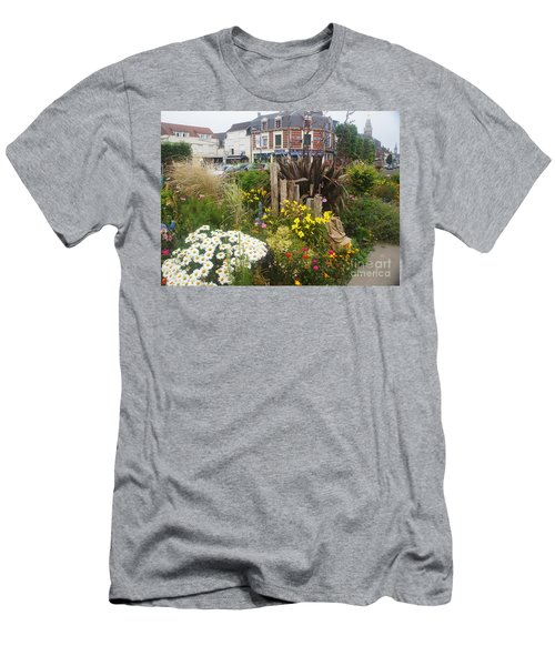 Men's T-Shirt (Slim Fit) featuring the photograph Gardens At Albert Train Station In France by Therese Alcorn