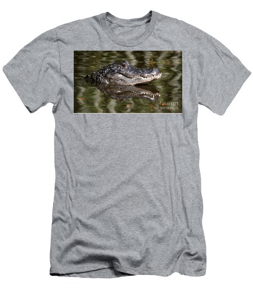 Men's T-Shirt (Slim Fit) featuring the photograph Gator With Dragonfly by Myrna Bradshaw