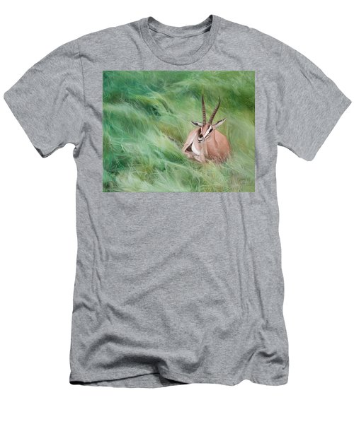 Gazelle In The Grass Men's T-Shirt (Slim Fit) by Joshua Martin