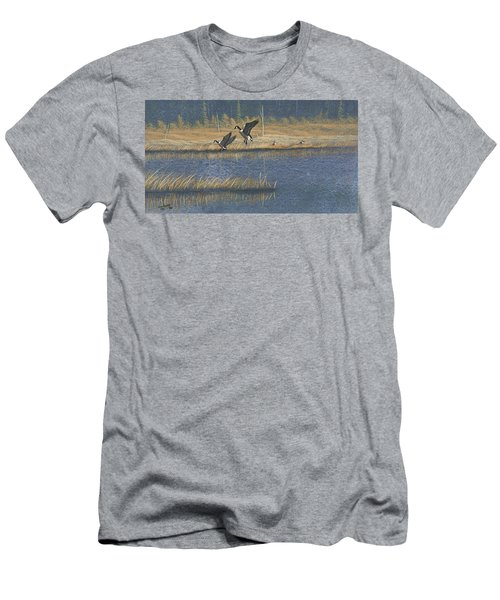 Men's T-Shirt (Slim Fit) featuring the painting Geese by Richard Faulkner