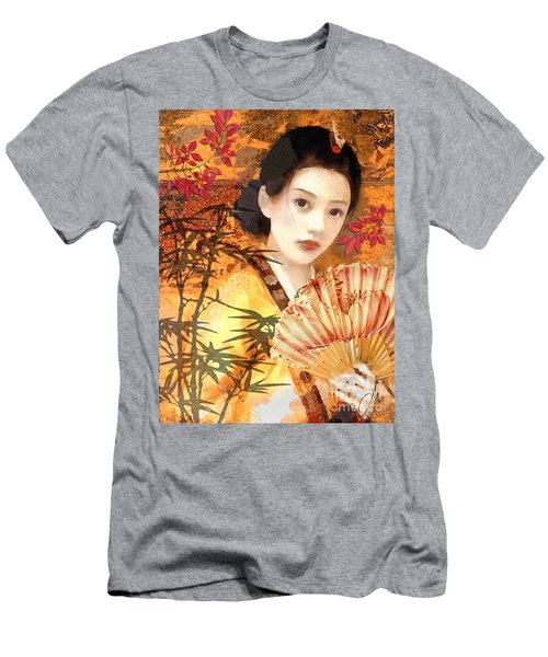 Geisha With Fan Men's T-Shirt (Athletic Fit)