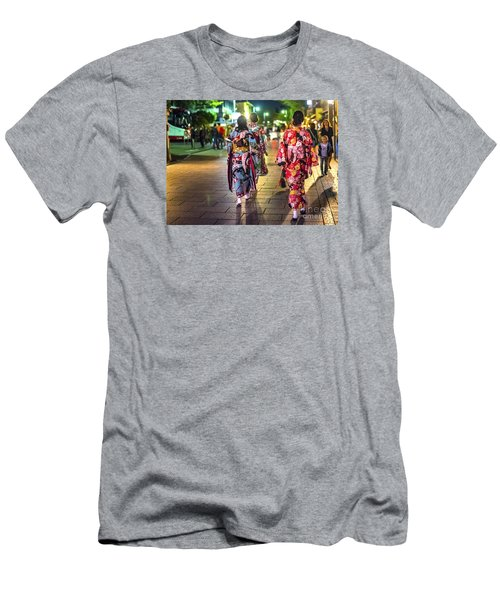 Men's T-Shirt (Slim Fit) featuring the photograph Geishas In A Rush by Pravine Chester