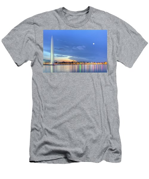 Geneva Lake With Famous Fountain, Switzerland, Hdr Men's T-Shirt (Athletic Fit)