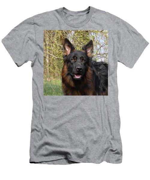 Men's T-Shirt (Slim Fit) featuring the photograph German Shepherd Close Up by Sandy Keeton