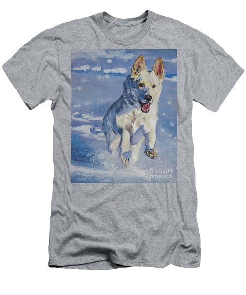 German Shepherd White In Snow Men's T-Shirt (Athletic Fit)